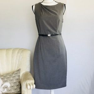H&M Gray Sheath Dress With Draped Shoulder